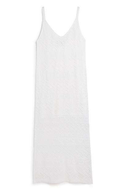 White Knitted Maxi Dress