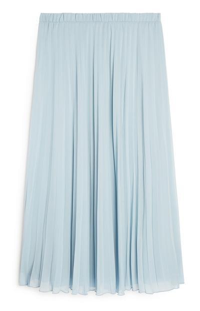 Blue Pleated Midi Skirt