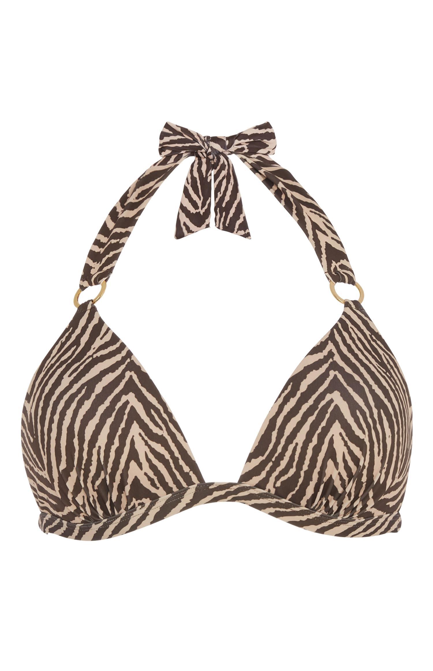 Zebra Plunge Bikini Top