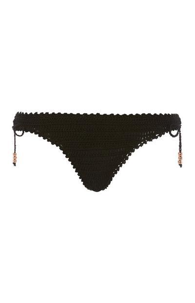 Black Knitted Bikini Brief