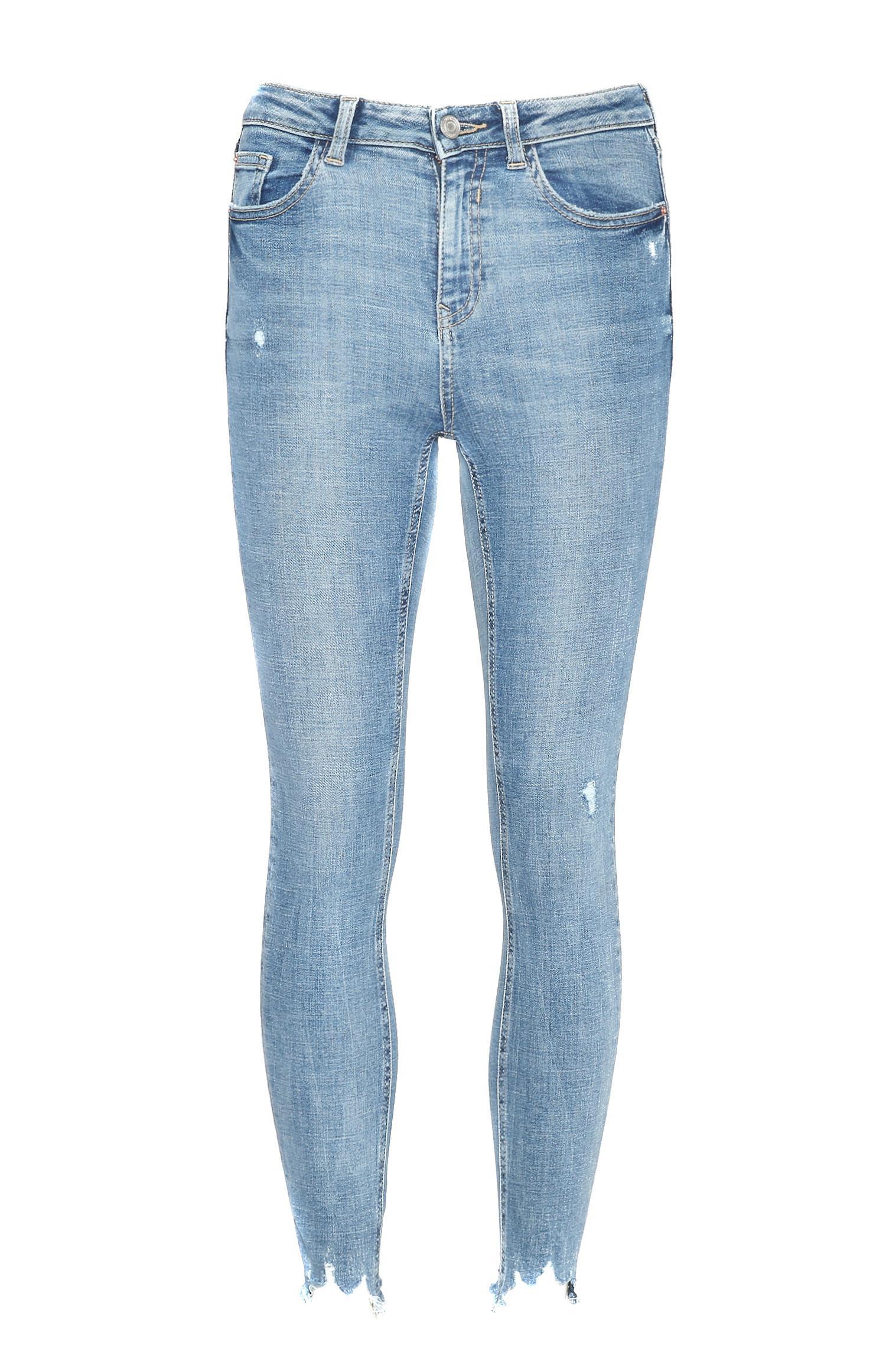 Calças de ganga azul skinny com tornozelo desfiado