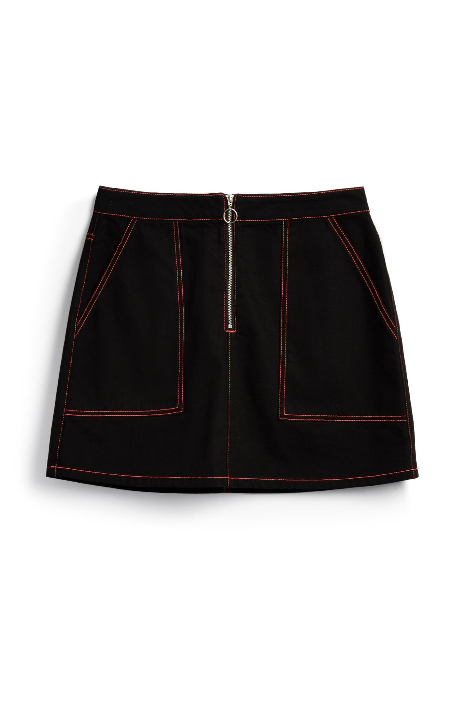 Black Contrast Stich Skirt
