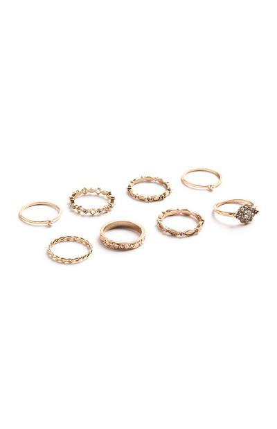 8PK Floral Rings