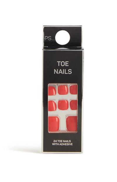 Red False Toe Nails