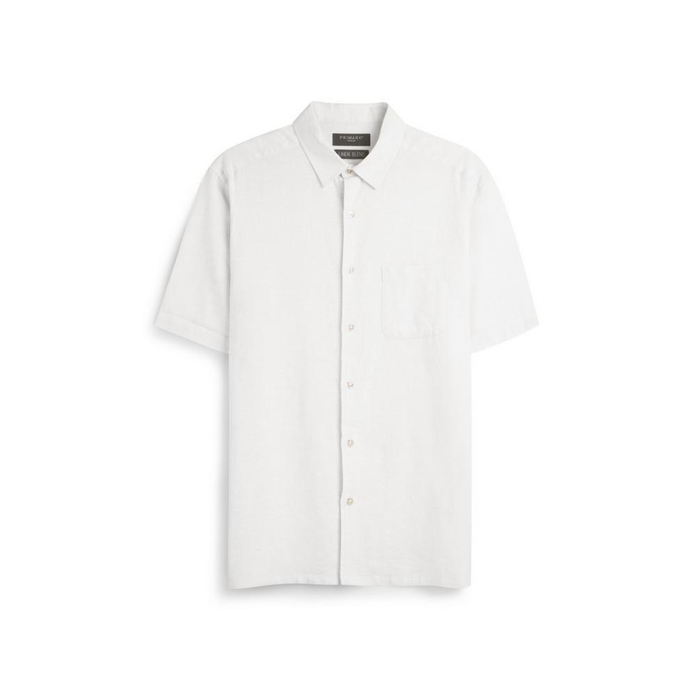 promo code 86ab6 09122 Camicia bianca in lino   Maniche corte   Camicie   Uomo ...