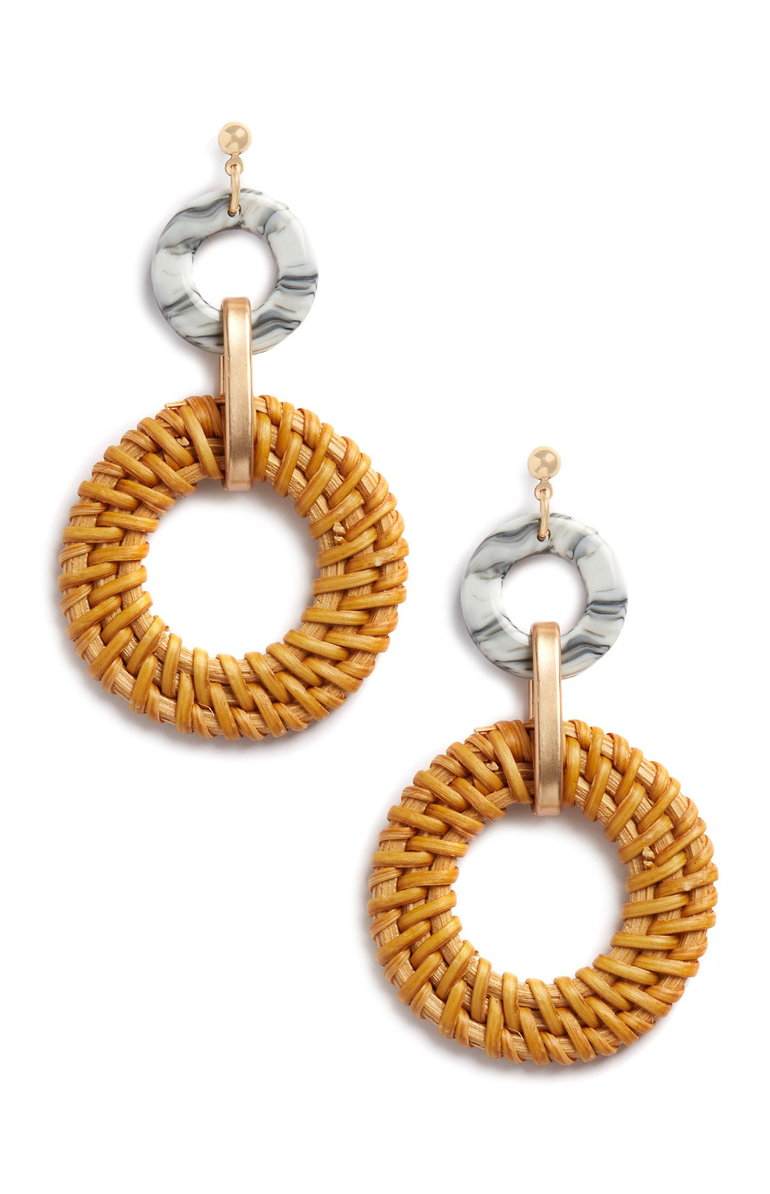 Tan Woven Drop Earrings