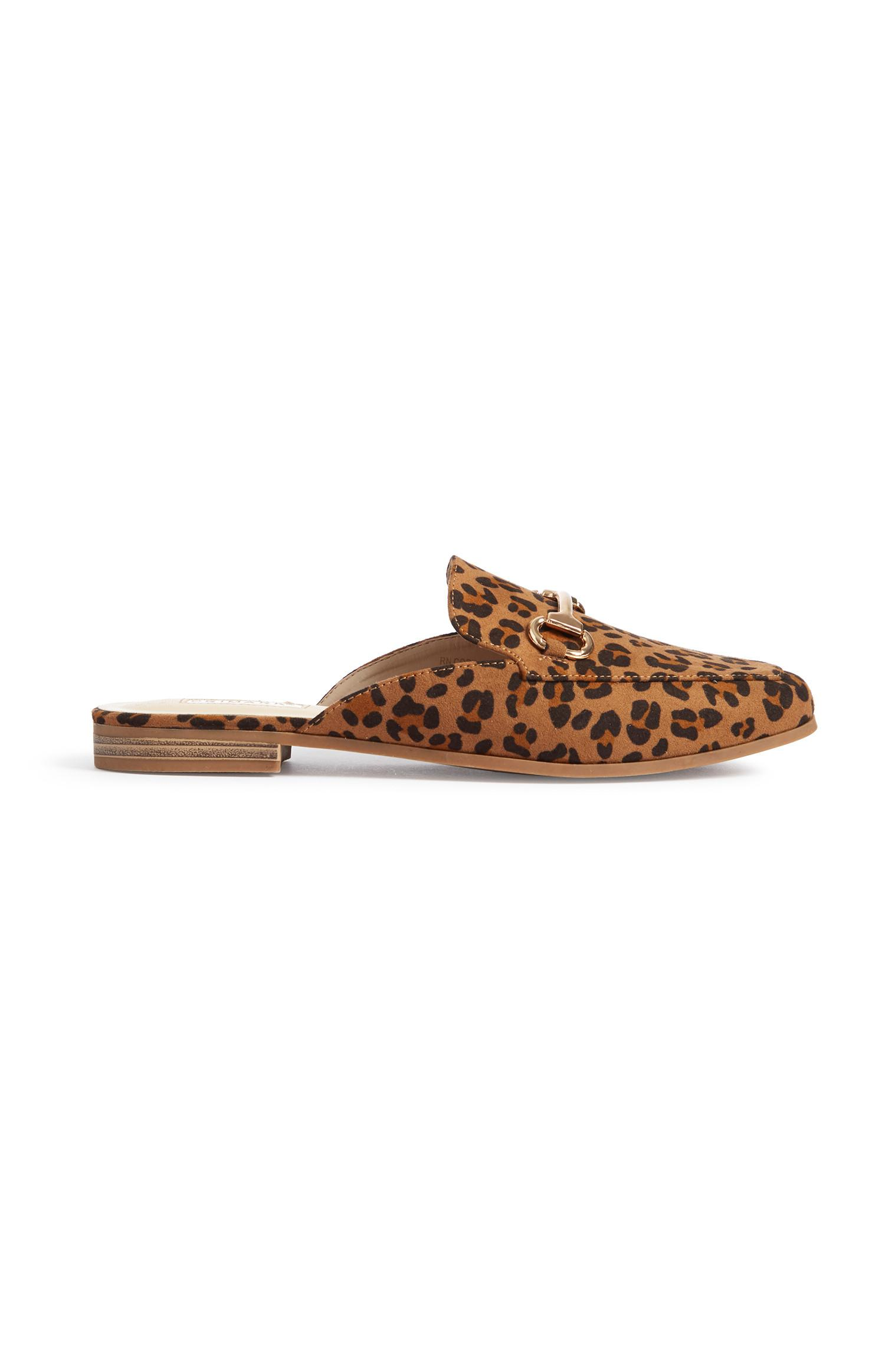 Mocasines abiertos estampado de leopardo
