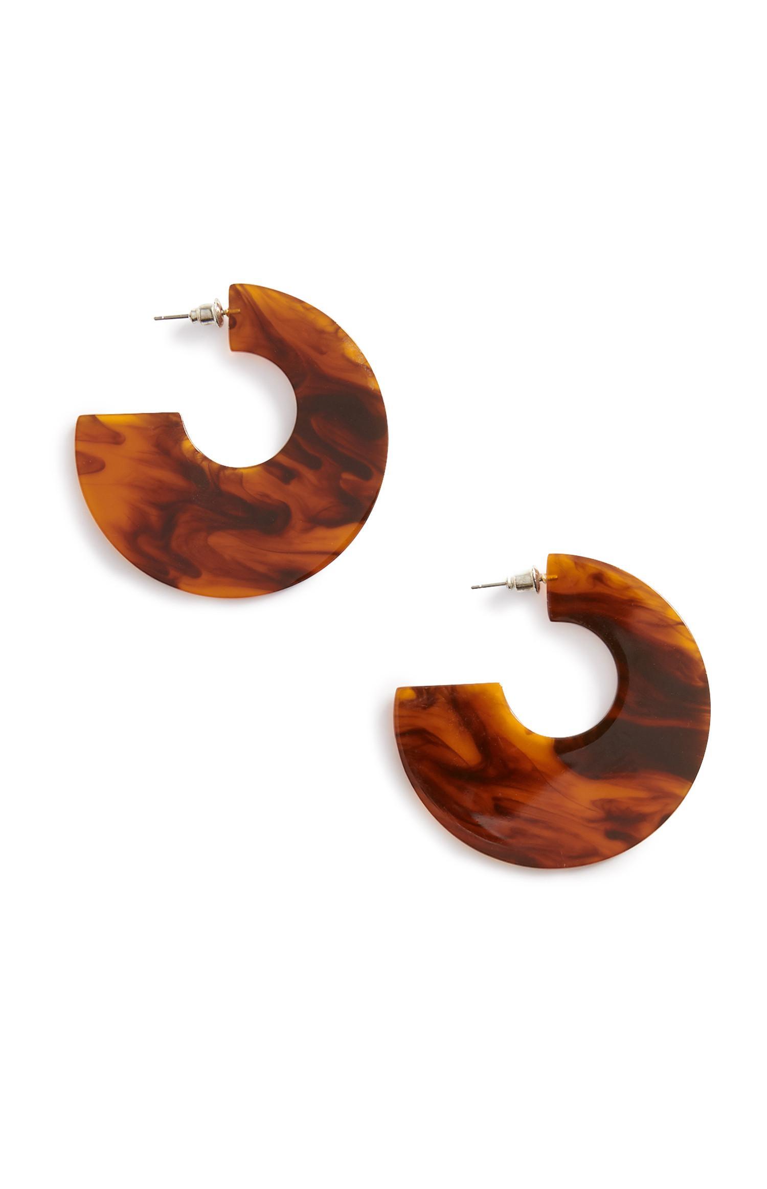 Brown Disc Earring