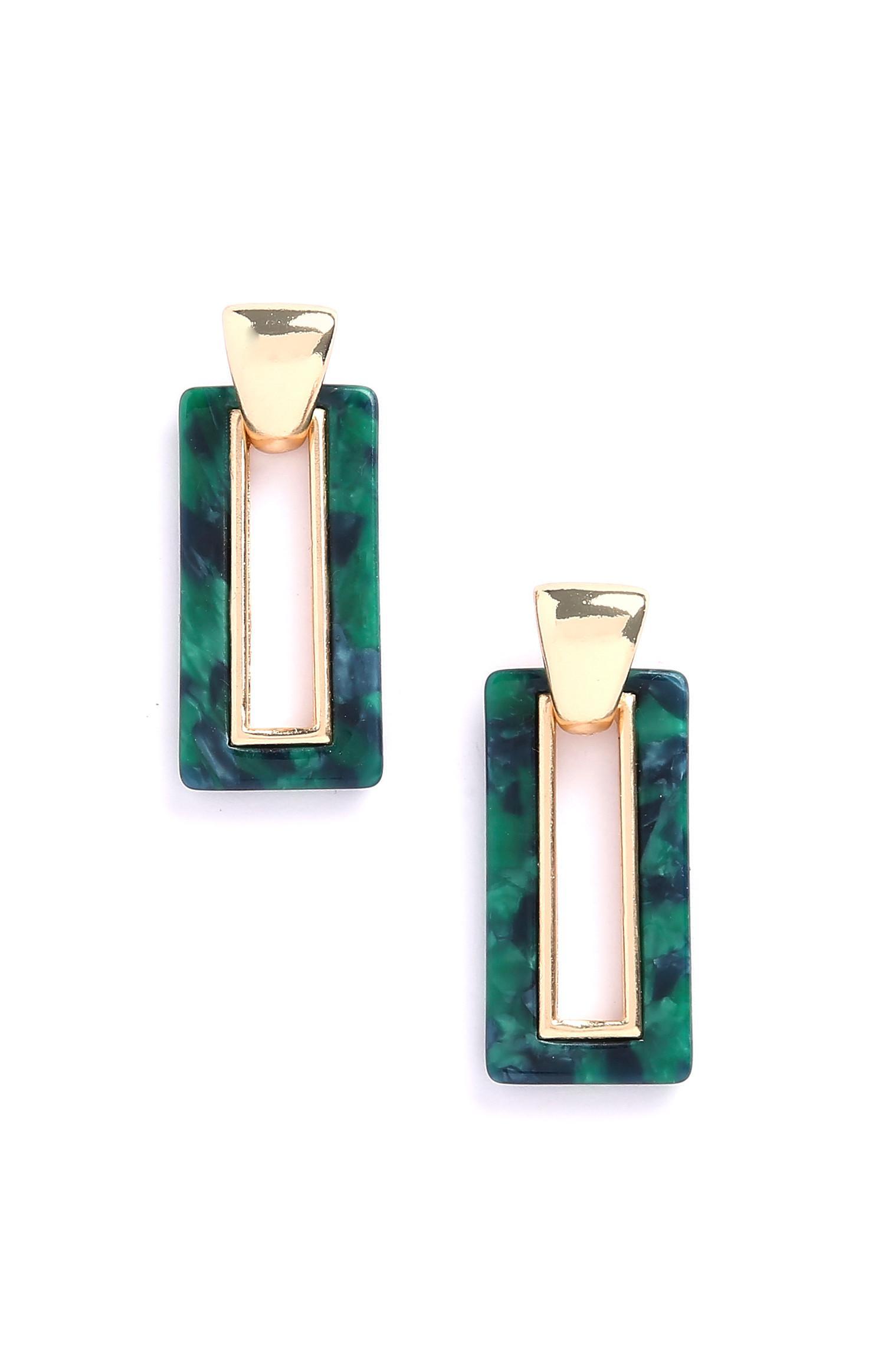 Green Resin Drop Earrings