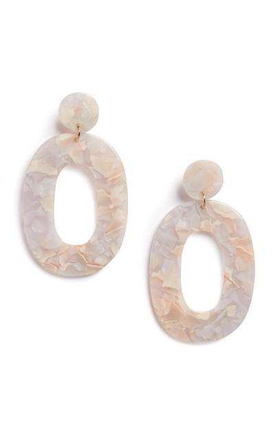 Nude Oval Drop Earrings
