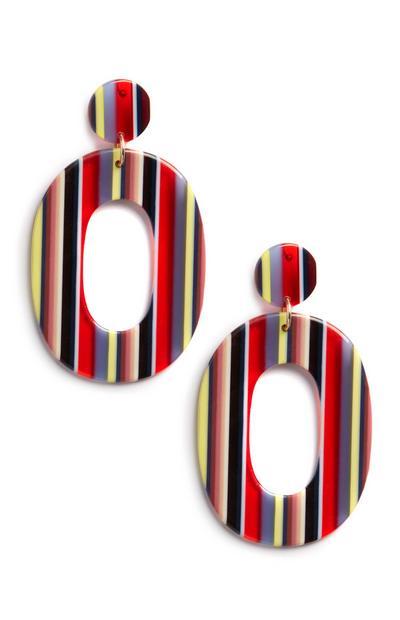 Strip Oval Drop Earrings