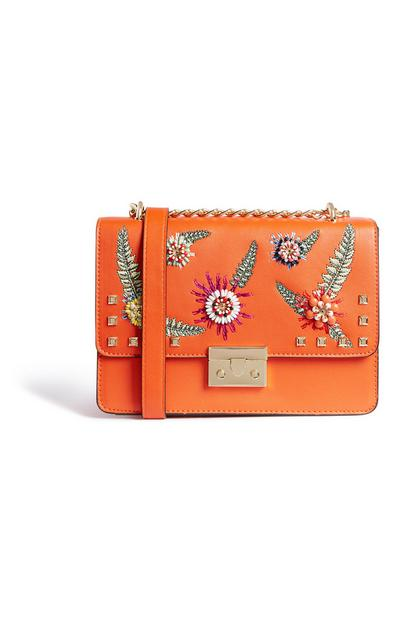 Orange Embellished Crossbody Bag