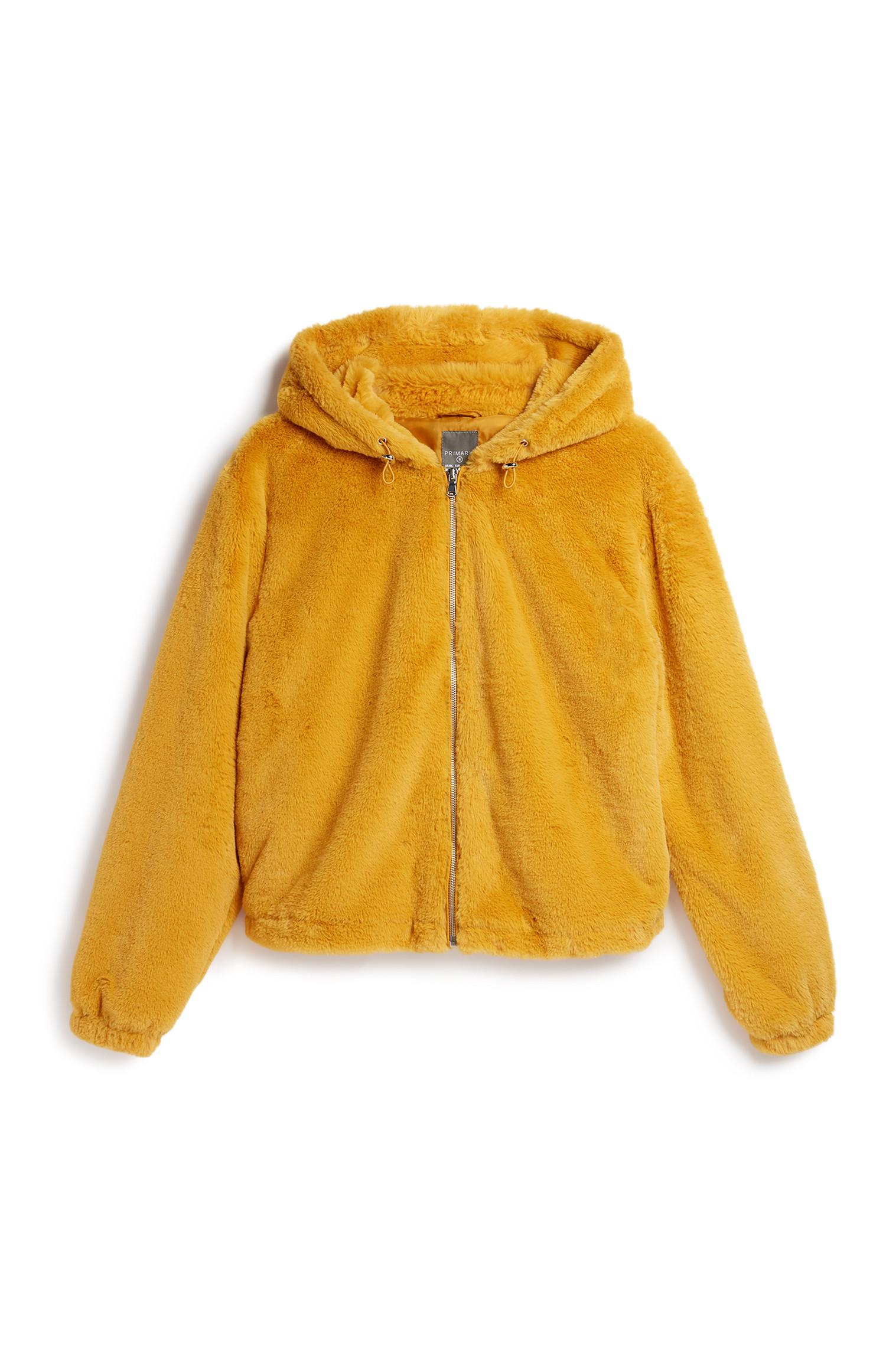 Mustard Hooded Faux Fur Coat