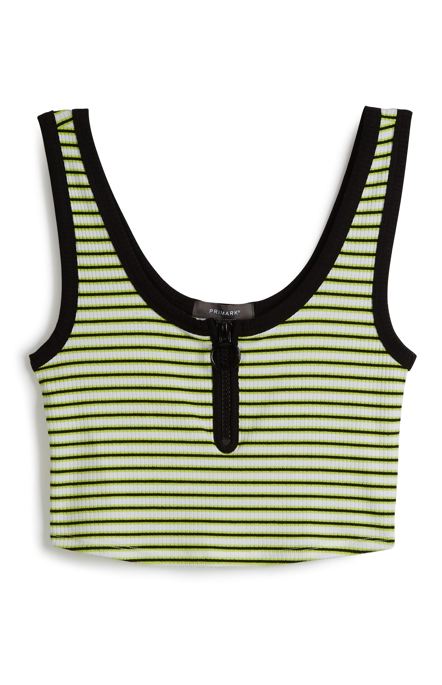 Green Stripe Crop Top