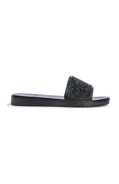 Black Glitter Mule