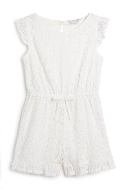 Younger Girl White Lace Playsuit