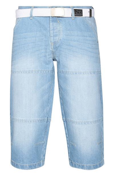 Light Denim Belted Shorts