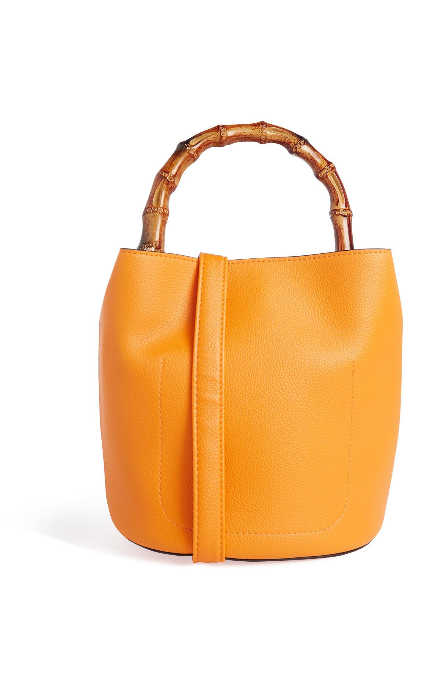 Orange Bamboo Bucket Bag