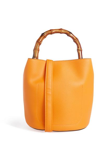 Orange Bamboo Bucket Bag
