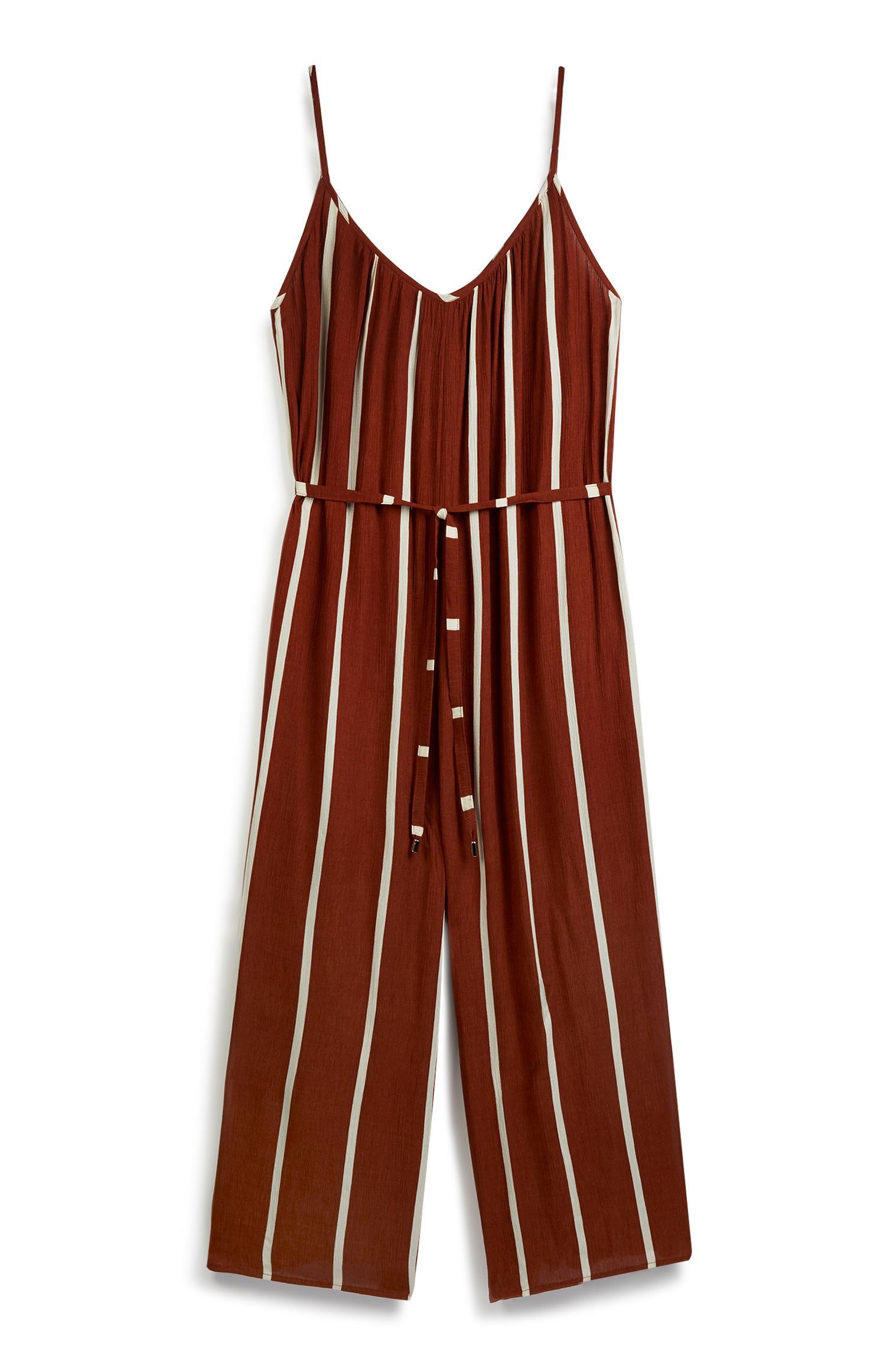 Brown Stripe Jumpsuit