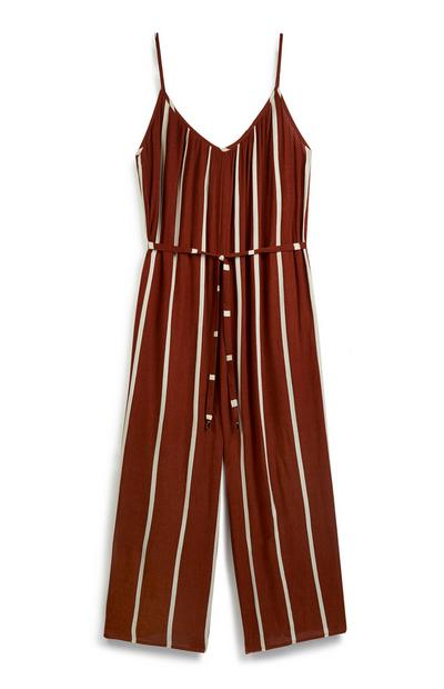 Brown Stripe Jumpsuit