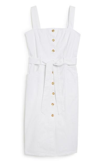 White Denim Strap Dress
