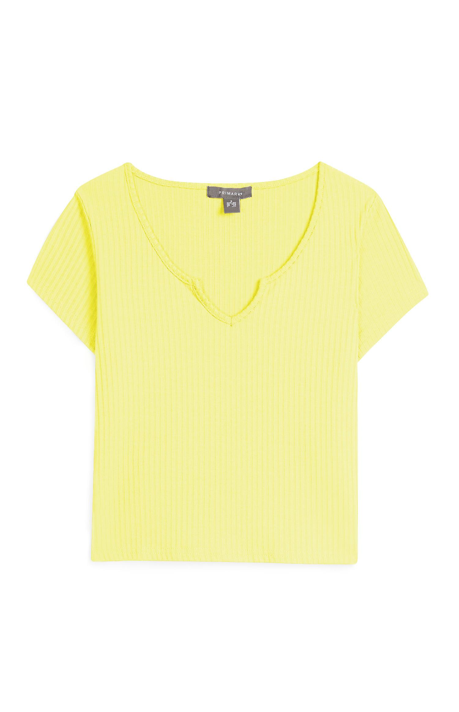 Geripptes T-Shirt in Gelb