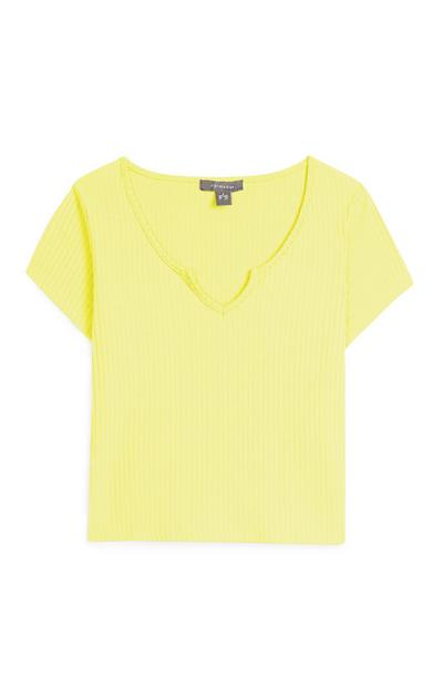 Yellow Ribbed T-Shirt