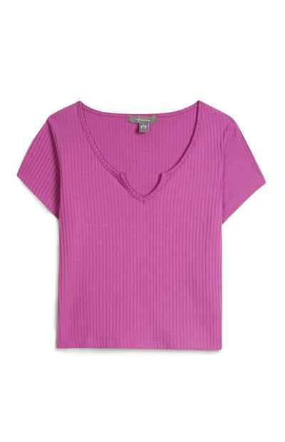 Geripptes T-Shirt in Violett