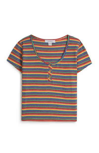 Multi Stripe Crop T-Shirt