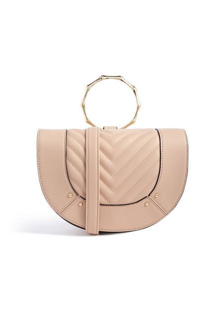 Quilted Bamboo Handle Handbag