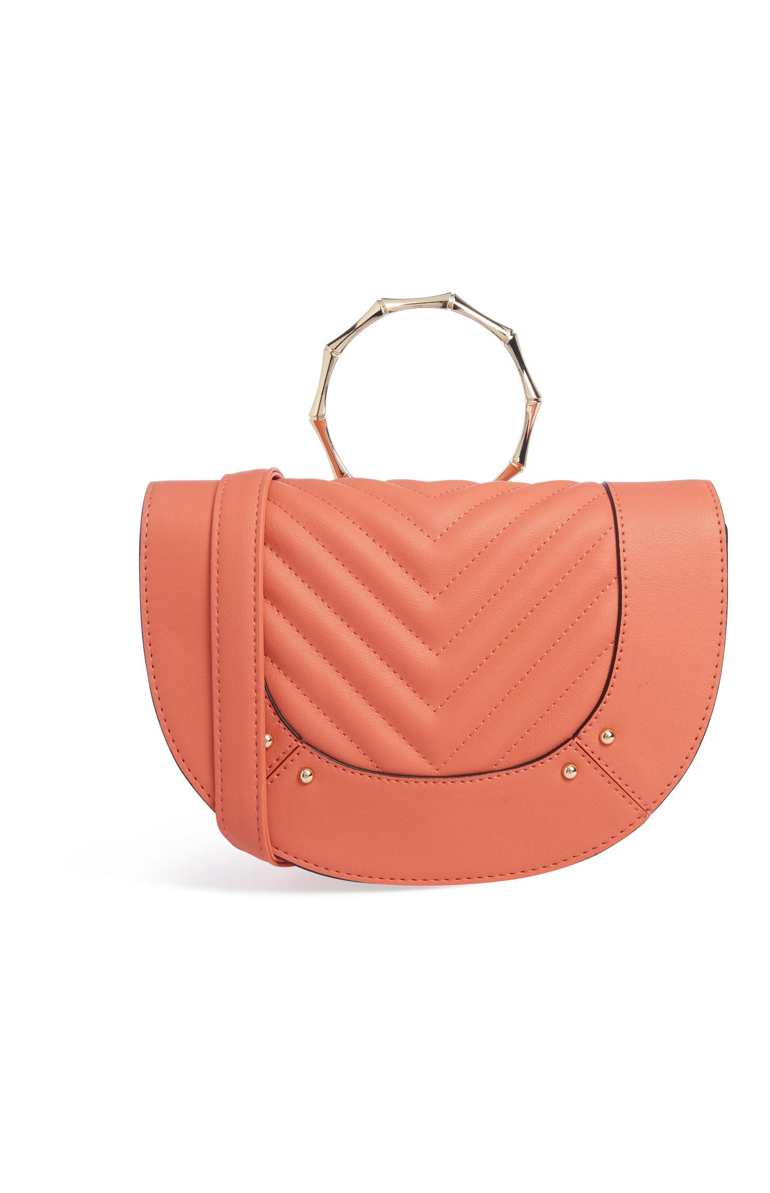 Coral Bamboo Handle Bag