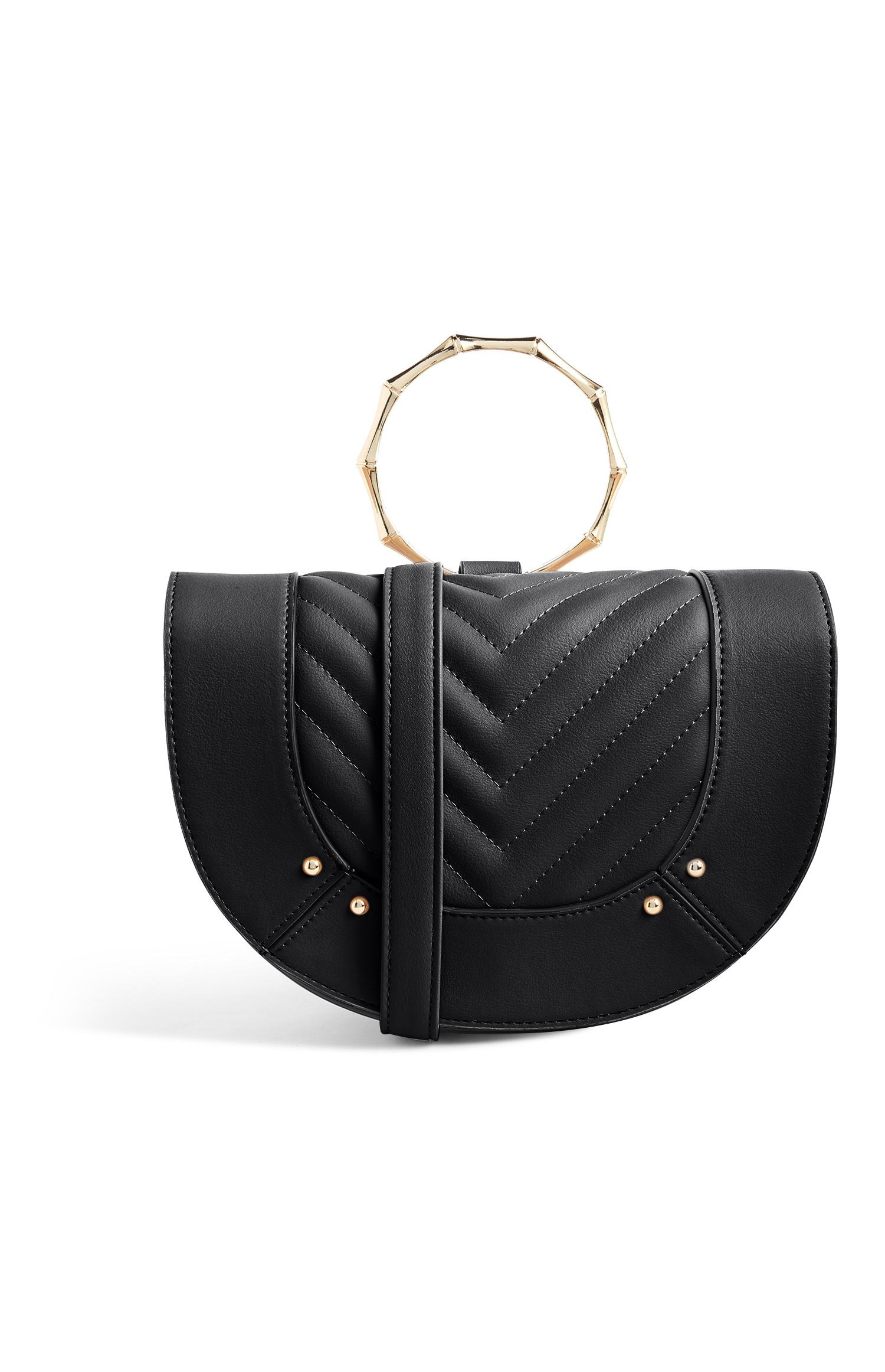 Black Bamboo Handle Handbag