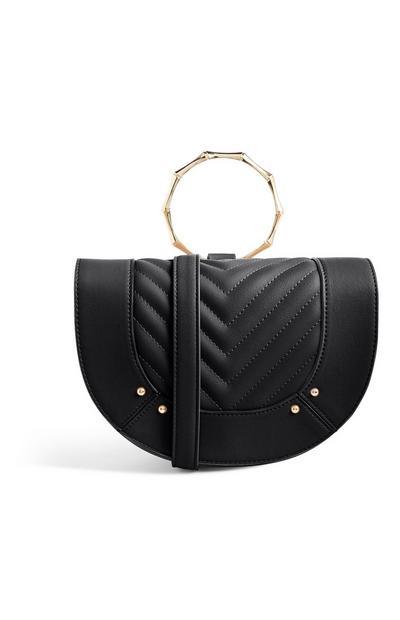 Black Bamboo Handle Handbag