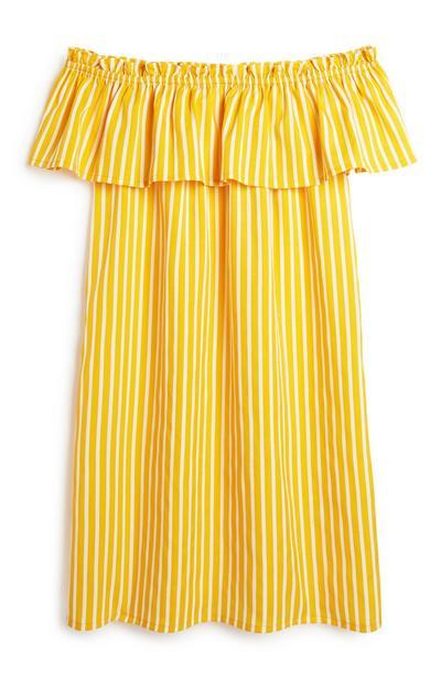 Mustard Stripe Bardot Dress