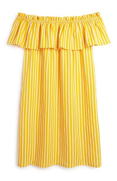 Mustard Stripe Bardot Dress