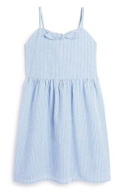 Older Girl Blue Stripe Dress