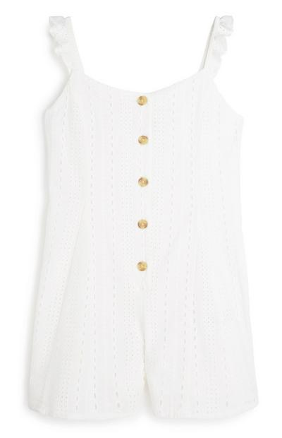 Older Girl White Playsuit