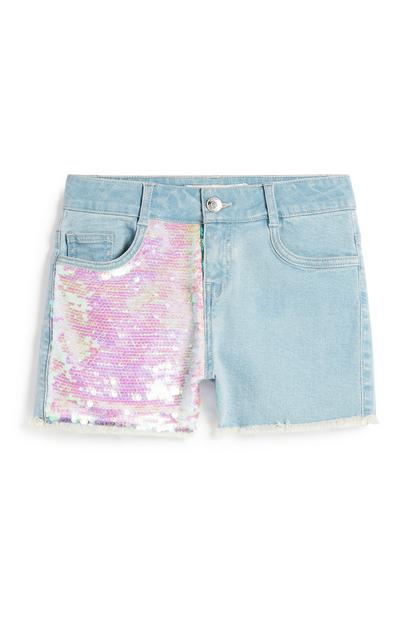 Older Girl Sequin Denim Short