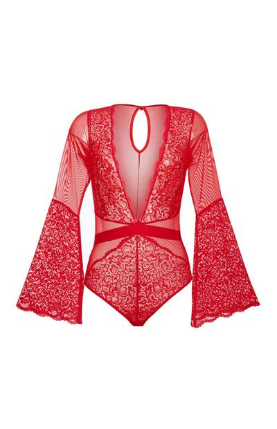 Red Flare Lace Bodysuit