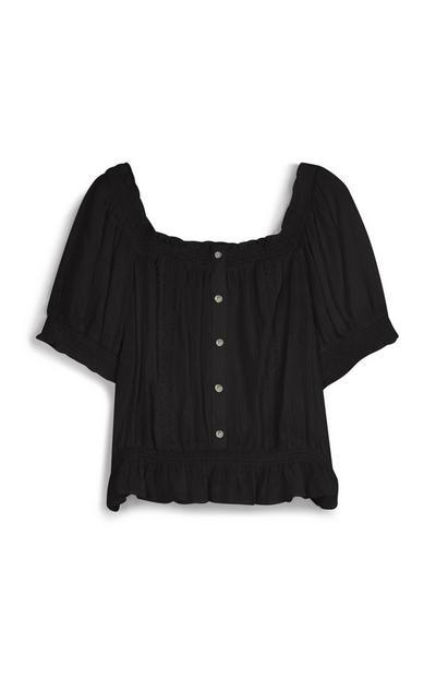 Black Crochet Blouse