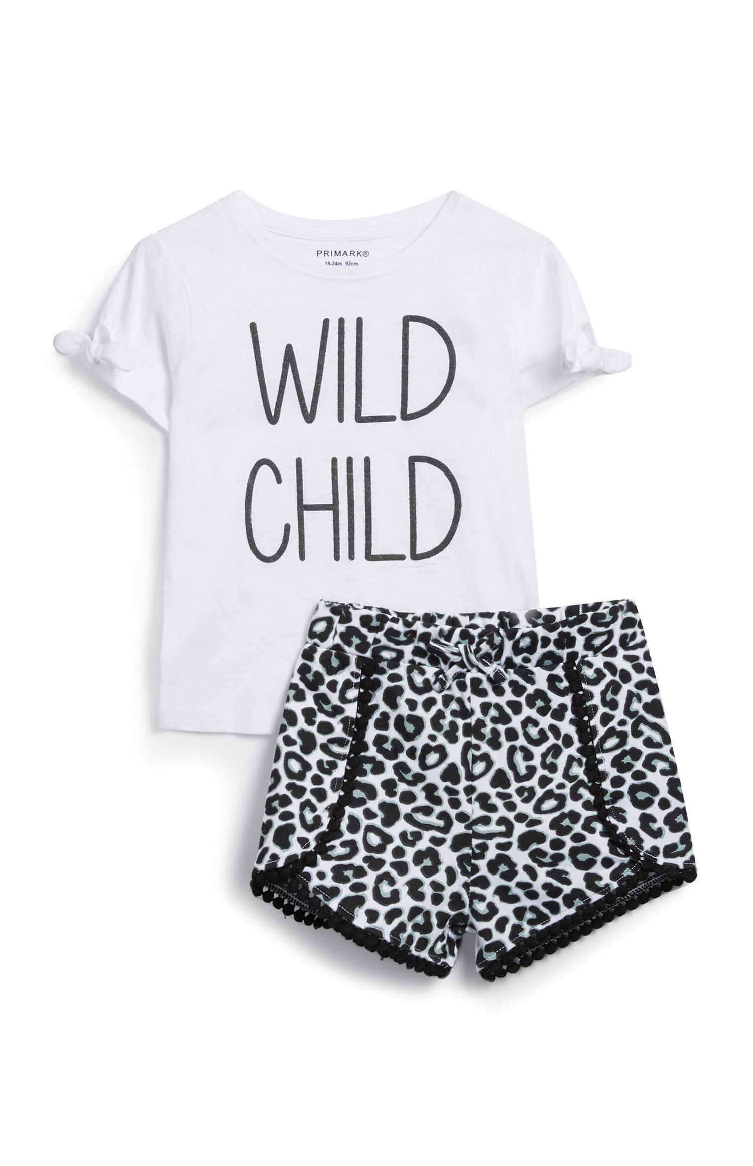 Conjunto de 2 peças com padrão leopardo para menina bebé
