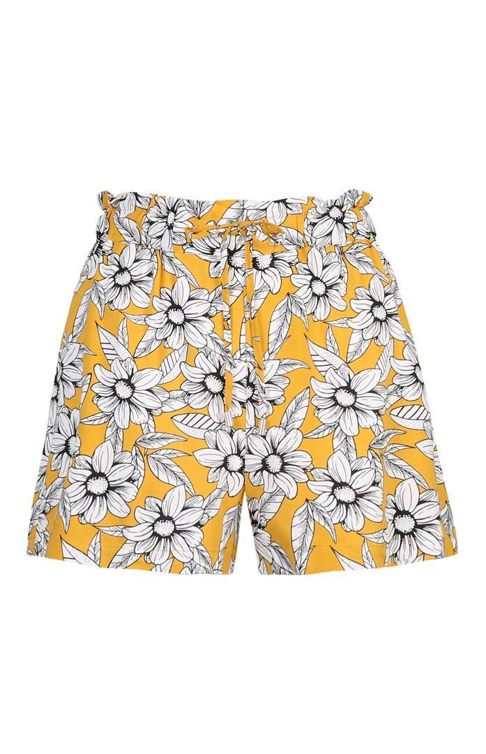 Shorts senape a fiori