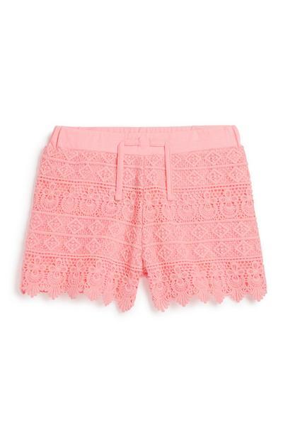 Older Girl Pink Crochet Short