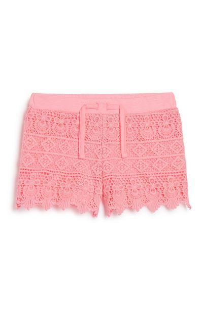 Younger Girl Pink Crochet Short