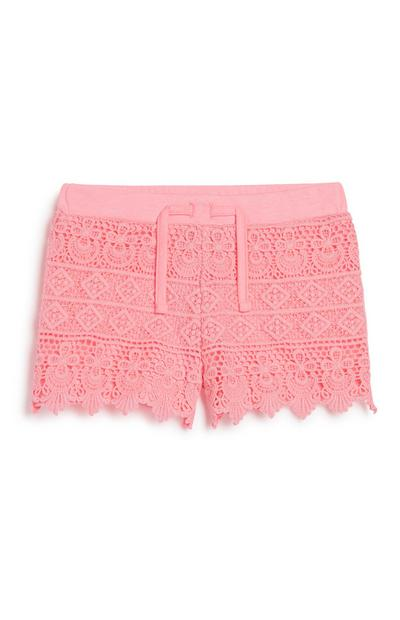 Younger Girl Pink Crochet Short