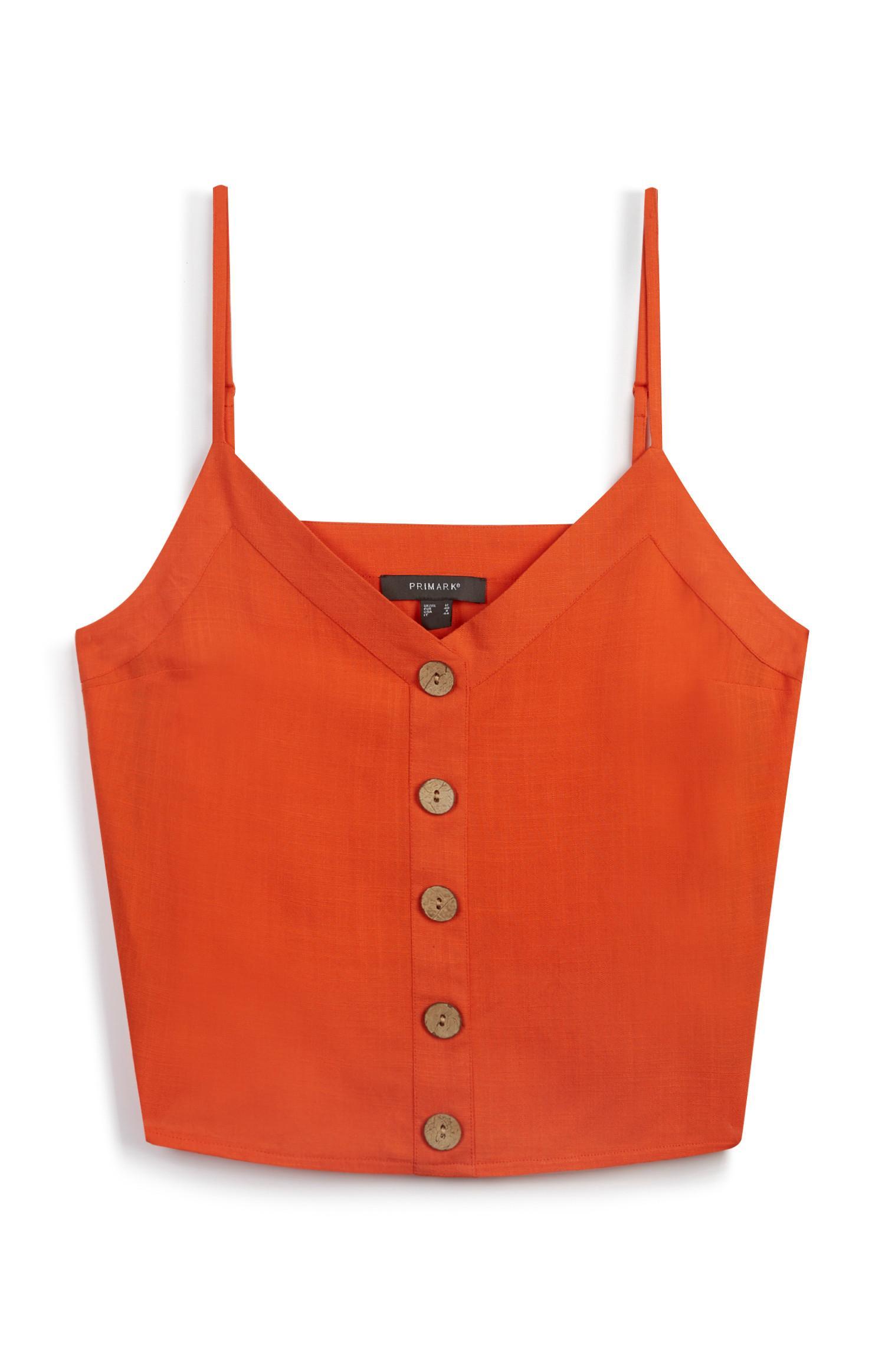 Canotta arancione in lino