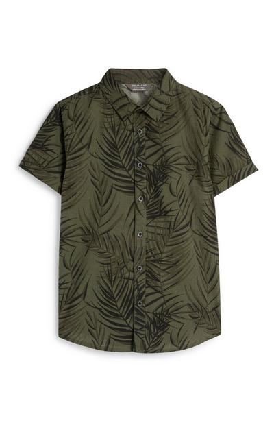 Older Boy Khaki Palm Print Shirt