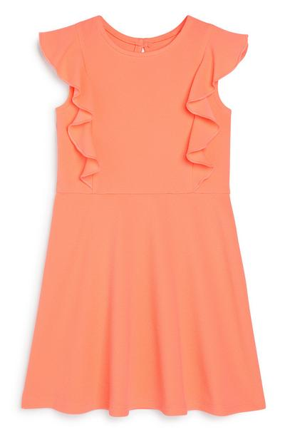 Younger Girl Frill Coral Dress