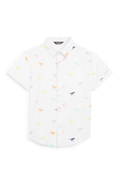 Younger Boy White Dionsaur Shirt